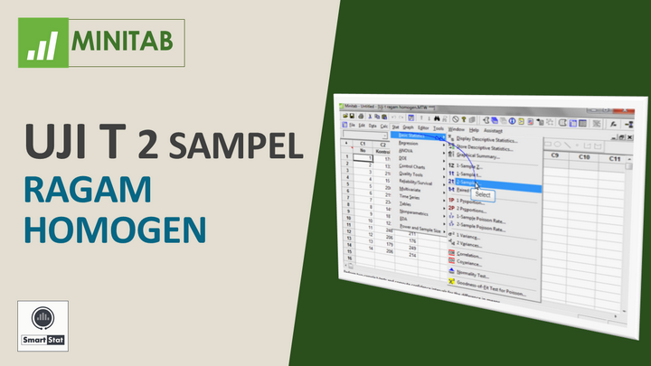 Tutorial Minitab: t test 2 sample homogen